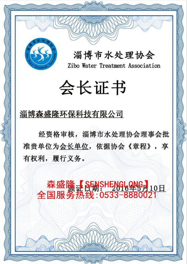 森盛隆水处理协会会长单位证书