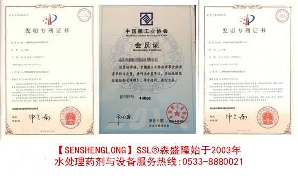 森盛隆潍坊反渗透膜阻垢剂定制专利技术证书