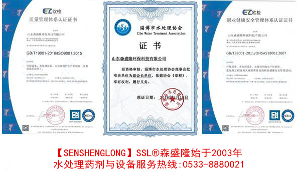 森盛隆反渗透膜阻垢剂厂家证书